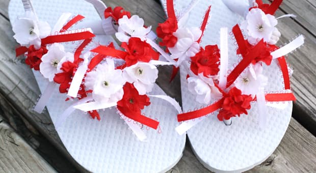e650b8e8b Canada Day Craft  Red And White Festive Flip Flops