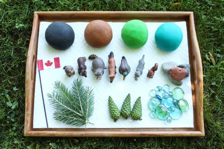 Supplies for a Canada Day play dough set.