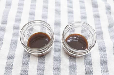 Caramel at the bottom of jars.