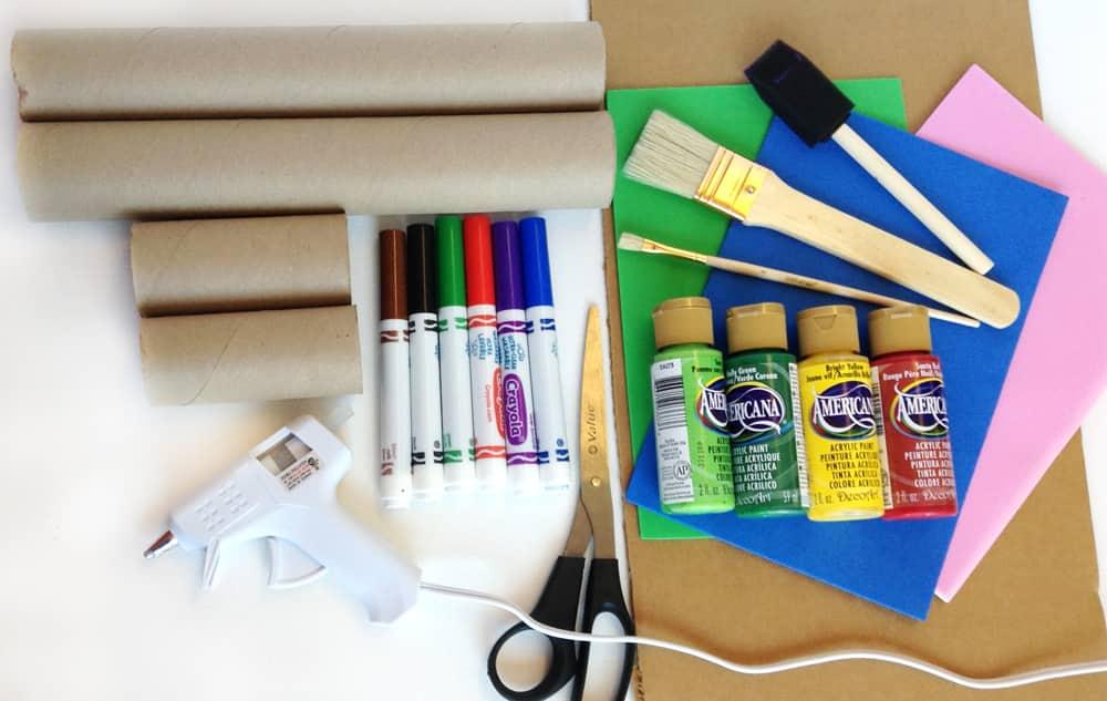 Supplies needed to make the castle desk organizer.