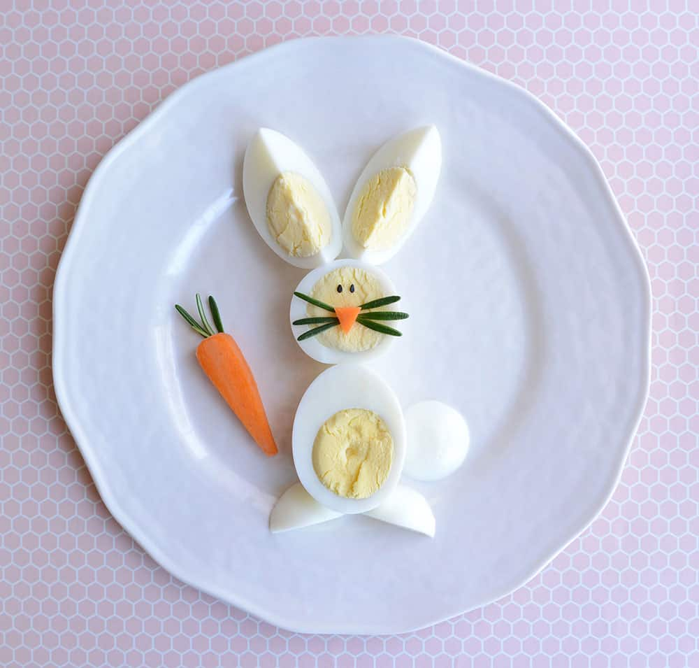 A bunny made out of hard boiled eggs.
