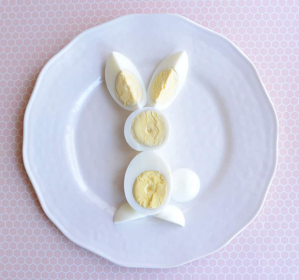 A bunny body made out of eggs.