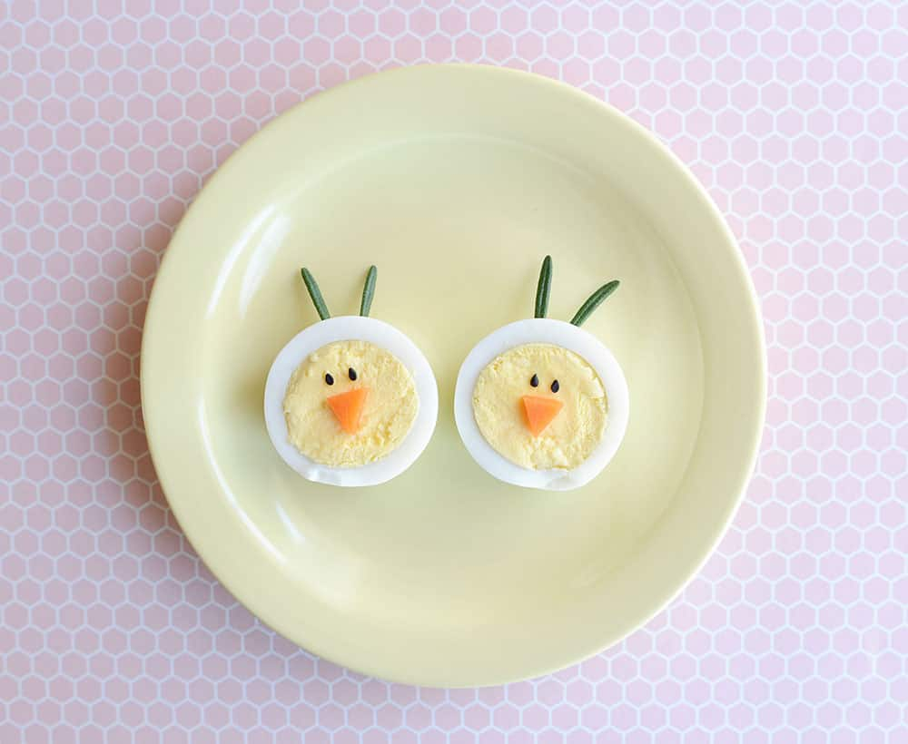 2 chicks made from hard-boiled eggs.