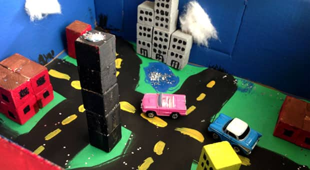 A city made from cardboard and blocks.