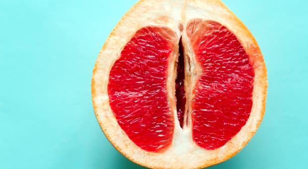 a photo of a sliced grapefruit