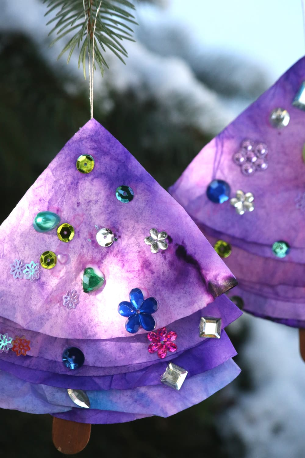 Sparkly coffee filter Christmas trees.