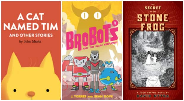 Three comics for beginning readers: A Cat Named Tim, Brobots and The Secret Of The Stone Frog