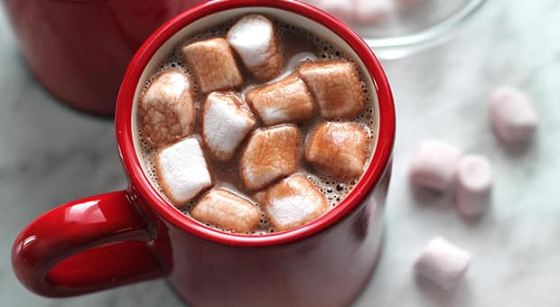 red mug of hot chocolate and marshmallows