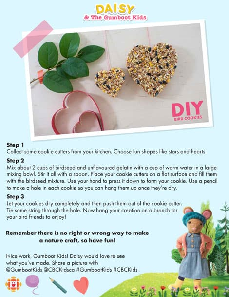 Printable instructions to make Daisy's bird cookies.