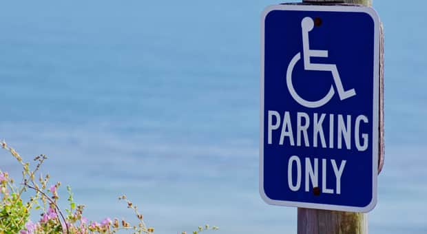 an image of a disability parking section of a parking lot