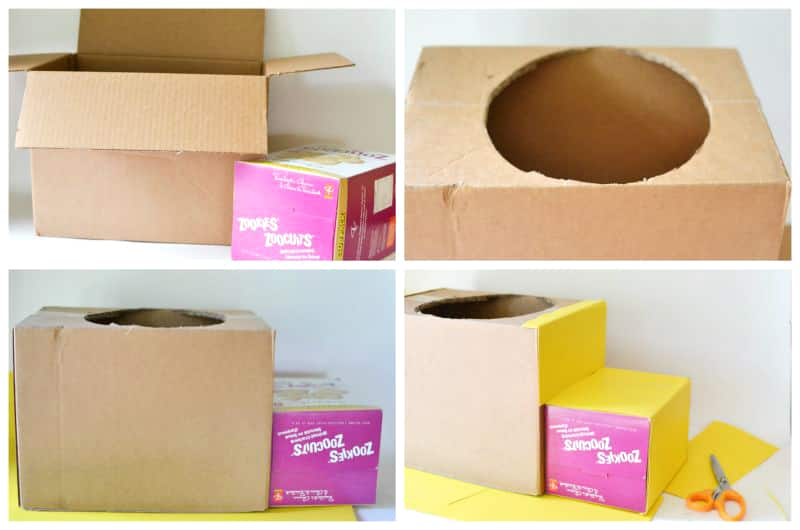 Cardboard box school bus play cbc parents for How to make a piggy bank you can t open
