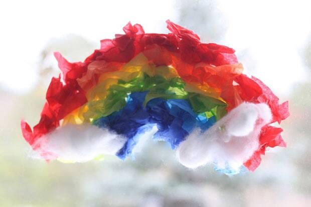 rainbow wreath on a window