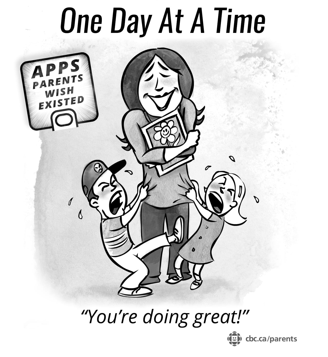 Illustration of a mom holding a tablet.