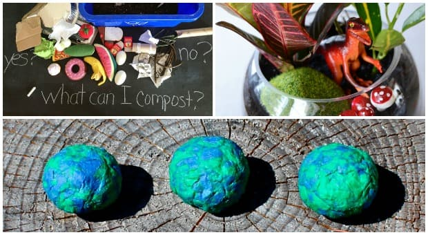 A triptych of the compost activity, a terrarium and wildflower seed bombs
