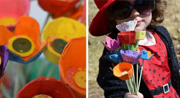Flowers made out of egg cartons