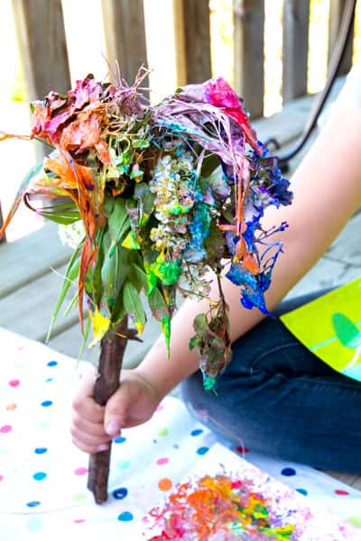 A fairy paintbush covered in paint.