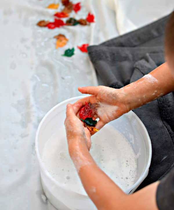 A child holds acrylic leaves over a bucket of water.