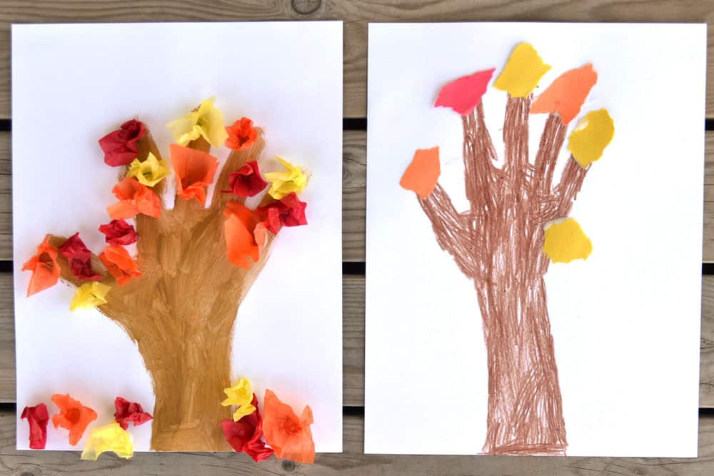 Two Fall Hand Print Crafts