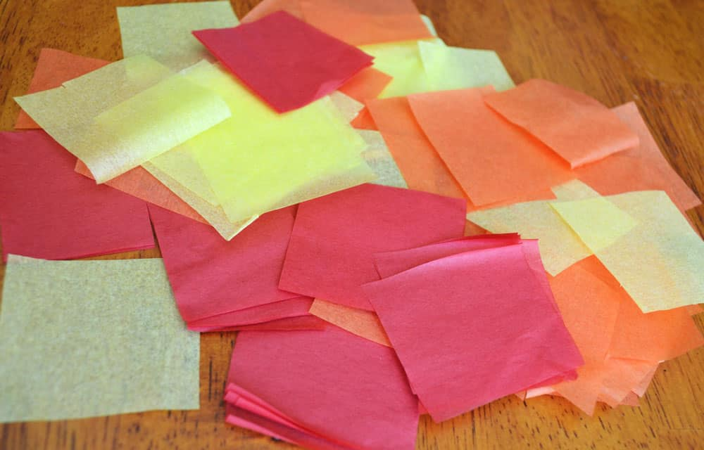 3 Have The Child Cut Tissue Paper Into 1 Inch Squares Or Rip Construction Little Pieces