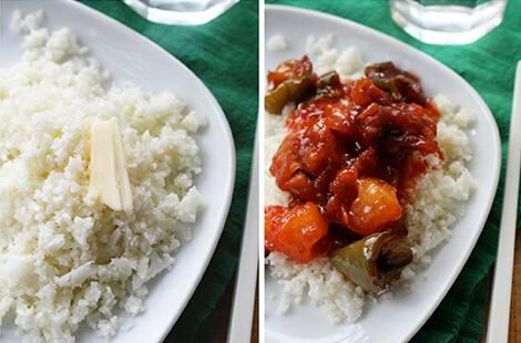 Plain cauliflower rice and cauliflower rice served with vegetables.