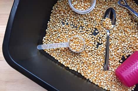 Popcorn kernels, spoons and scoops in a plastic bin.