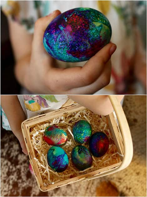 A close-up of tie-dyed egg.