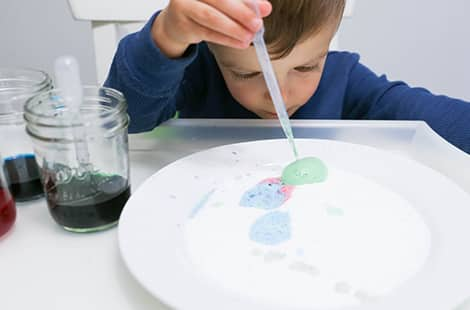 Child with eye-dropper adding colour to plate.