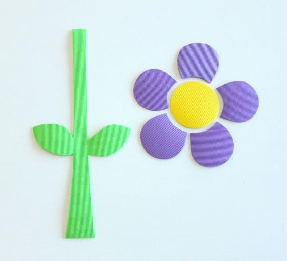 Foam cut-outs of flower stem, petals and flower centre.
