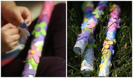 Toy flute made out of a stick and tin foil.