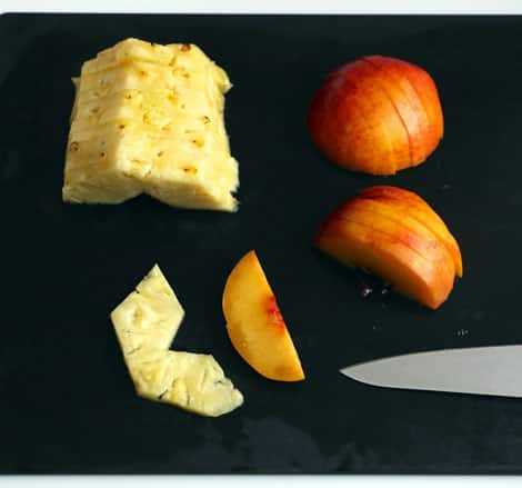Fruit chopped into slices, about 1/4-inch thick.