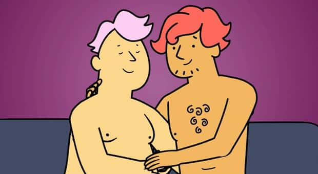 an animation of two men engaging in foreplay