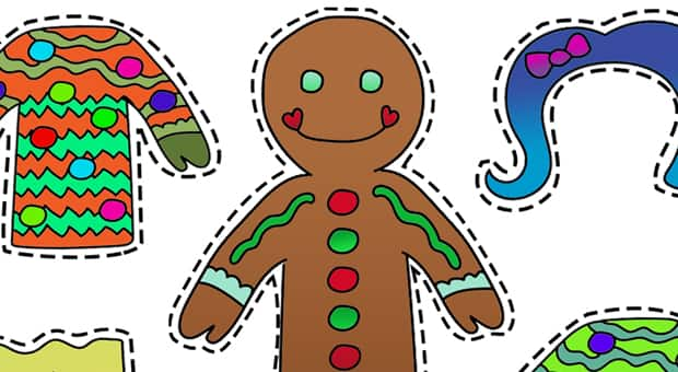 a paperdoll in the shape of a gingerbread cookie