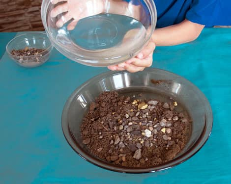 Pouring water into the bowl of gold and sediments.
