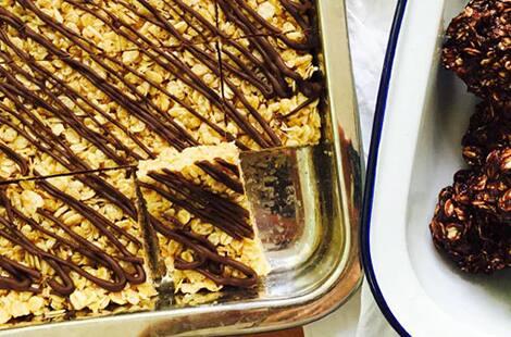 Cut granola bar squares