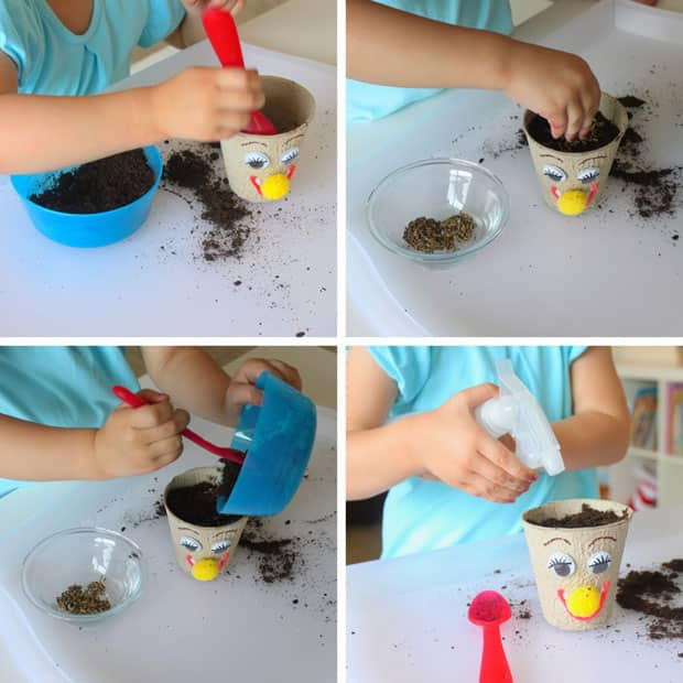 A girl puts soil and grass seeds in a little pot.