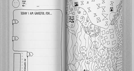 Two of the pages from inside the journal: one is a colouring page, and the other has space to record three things the reader is grateful for.