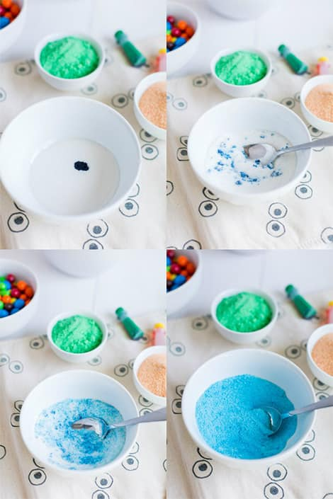 Four pics that show the food dye mixed in sugar at different stages.