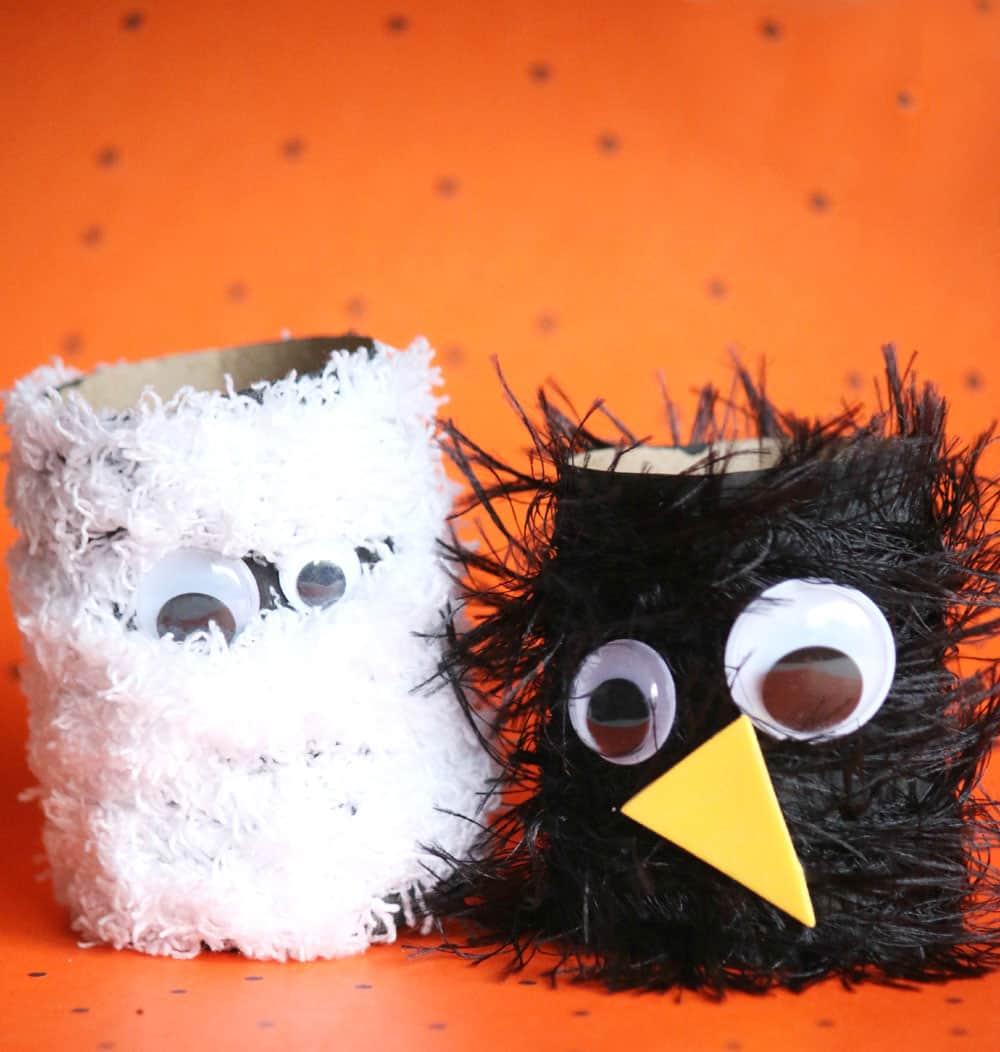 Completed cardboard roll Halloween creature