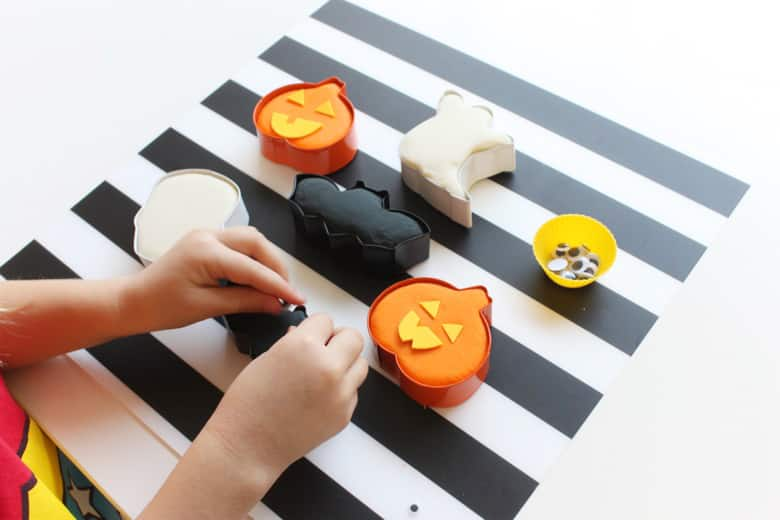 Halloween play dough shapes.
