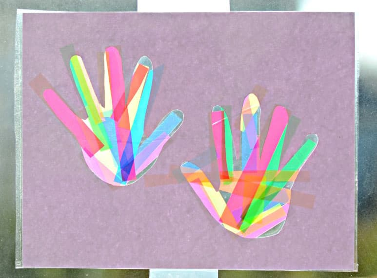 Completed handprint suncatcher craft.