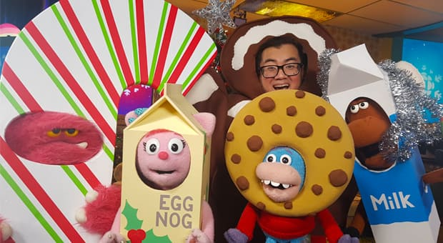 The hosts of Studio K dressed up as Christmas treats for the holidays.
