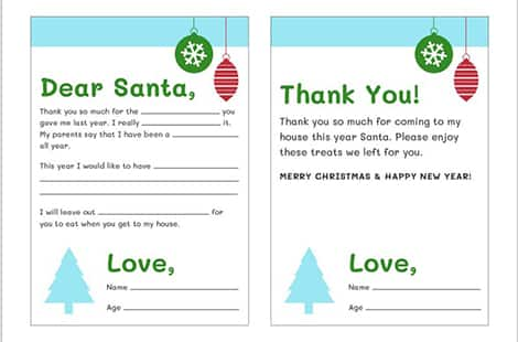 image of the printable dear santa letters