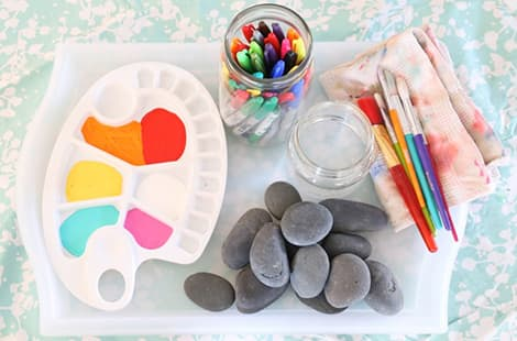 Paint supplies and rocks, of course.