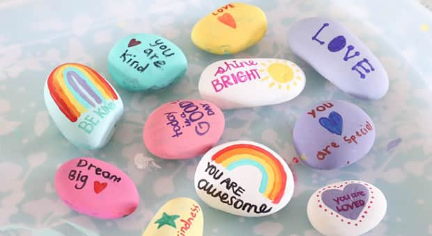 Colourful, painted rocks