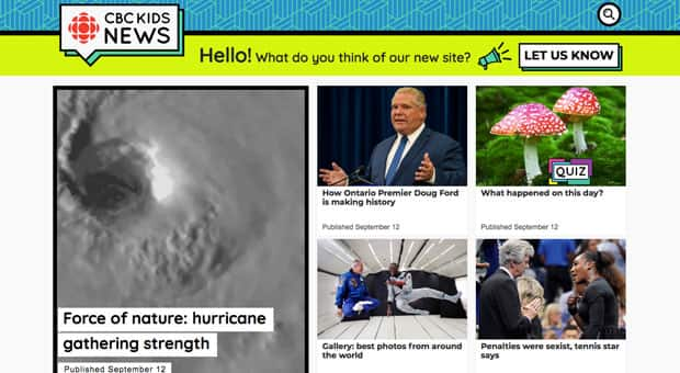 A screengrab of the homepage of CBC Kids News taken on September 13, 2018.