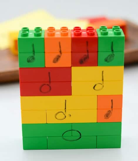 Blocks arranged and stacked to create different music combinations