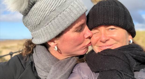 An affectionate lesbian couple