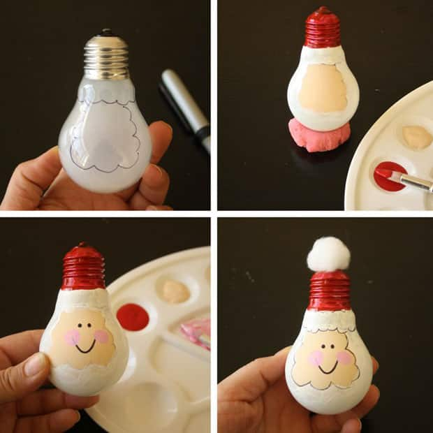 Christmas Craft For Kids Upcycled Light Bulb Santas Play Cbc