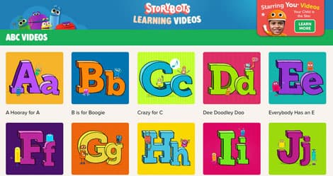 Screen cap of Storybots Learning Videos
