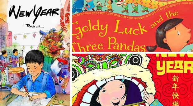 A collage of three books from the list: New Year, Goldy Luck and the Three Pandas and Bringing in the New Year